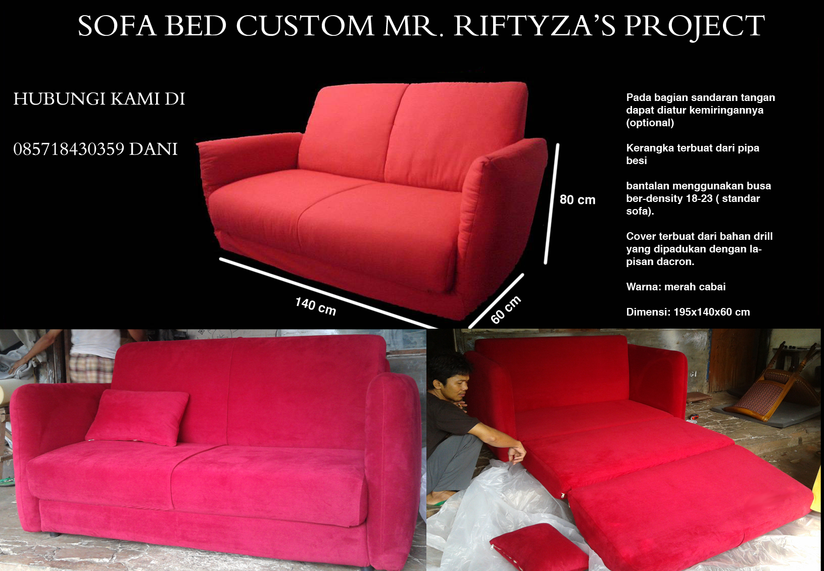 Ordersofabedmerah2 SOFA BED AMORIST RED FERERRY MR. RIFTIZAS PROJECT (SBRZ0001)