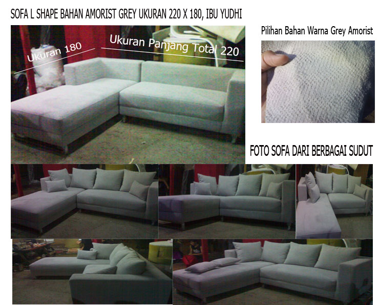 product 166184 SOFA L SHAPE AMORIST GREY KAKI STEINLESS STEEL MRS YUDHIS PROJECT (SFLY0001)