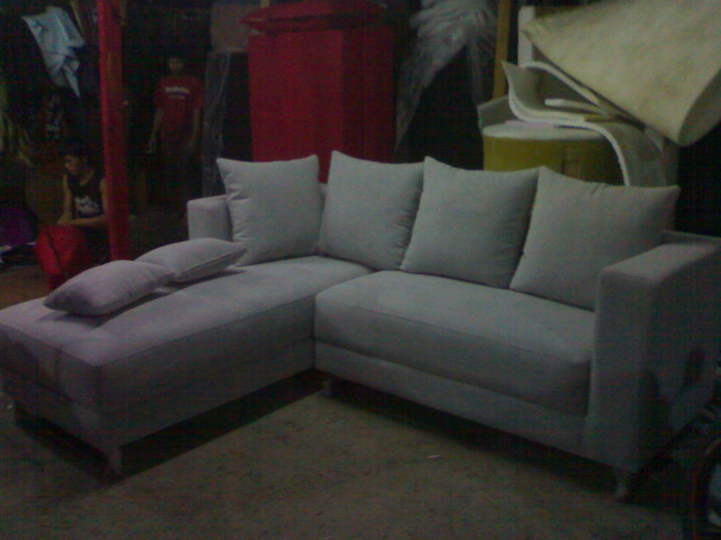 product 166184 71 SOFA L SHAPE AMORIST GREY KAKI STEINLESS STEEL MRS YUDHIS PROJECT (SFLY0001)