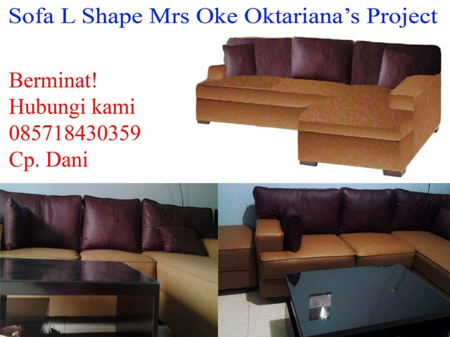 product 190269 SOFA L SHAPE CARAMEL MAROON  MRS. OKES PROJECT (SFPCOKE001)