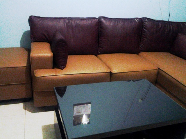 product 190269 2 SOFA L SHAPE CARAMEL MAROON  MRS. OKES PROJECT (SFPCOKE001)
